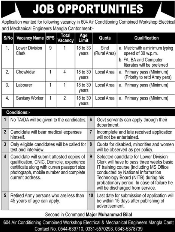 604 Air Conditioning Combined Workshop Jobs 2020