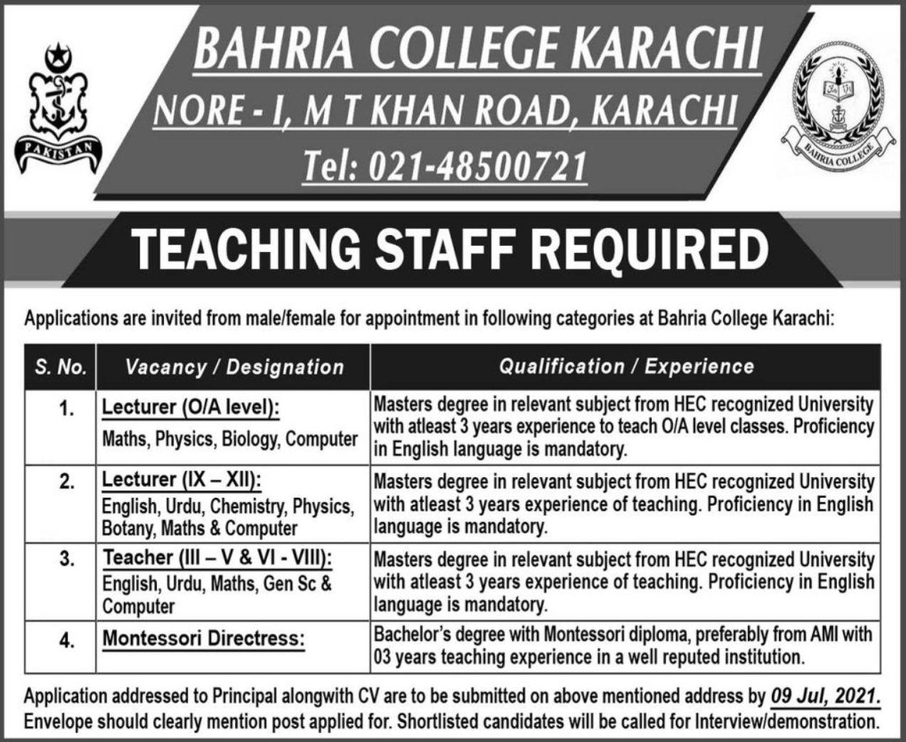 Bahria College Karachi Vacancies 2021 3