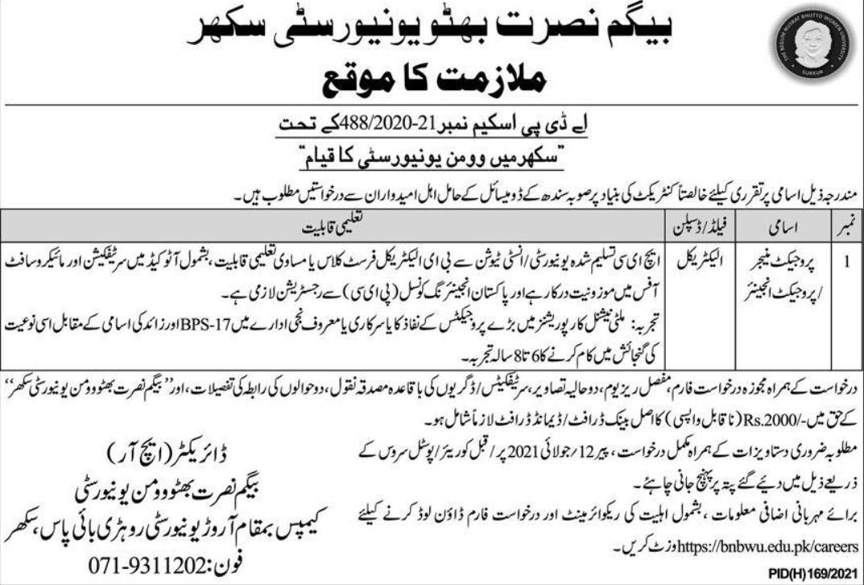 Begum Nusrat Bhutto University Sukkur Vacancies 2021 3