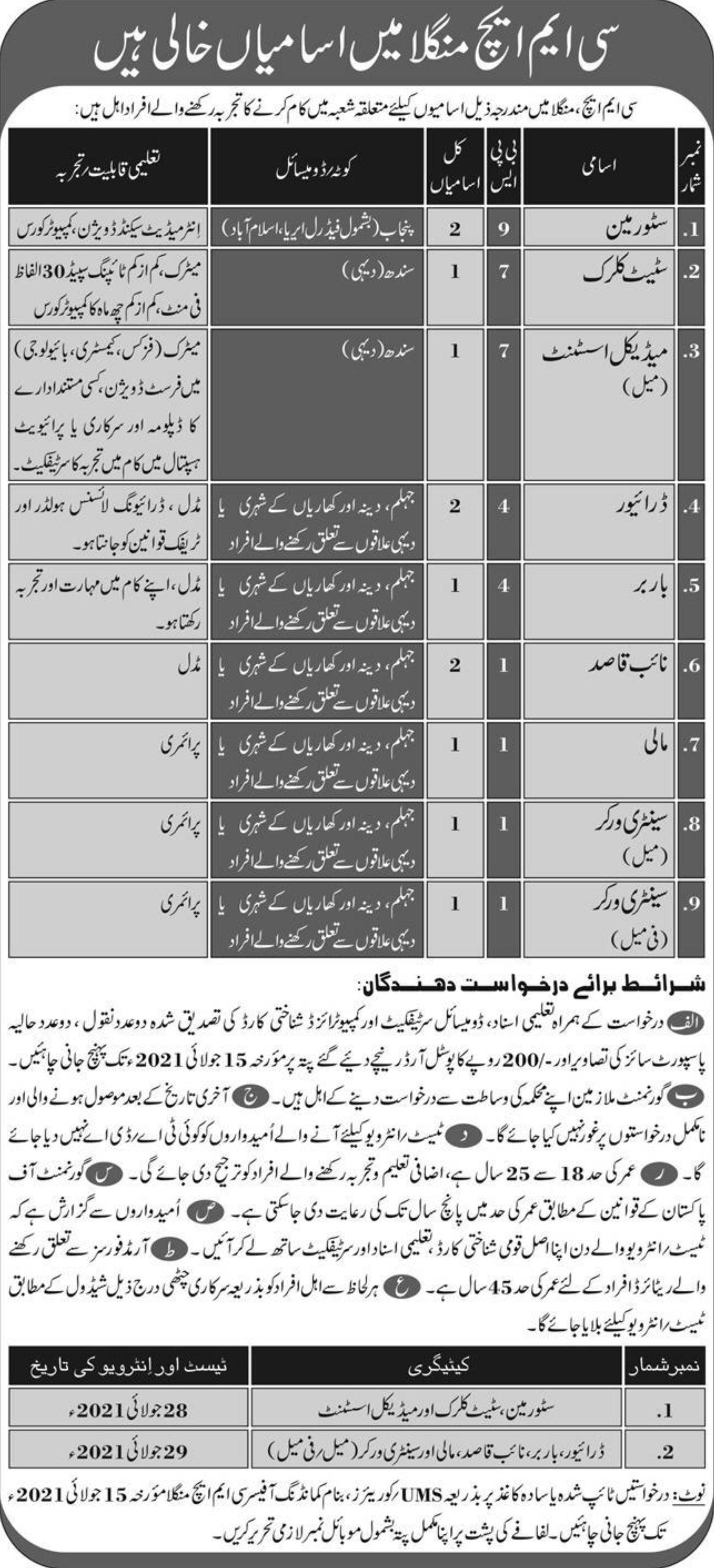 CMH Mangla Vacancies 2021   Dailyjobs.pk 3