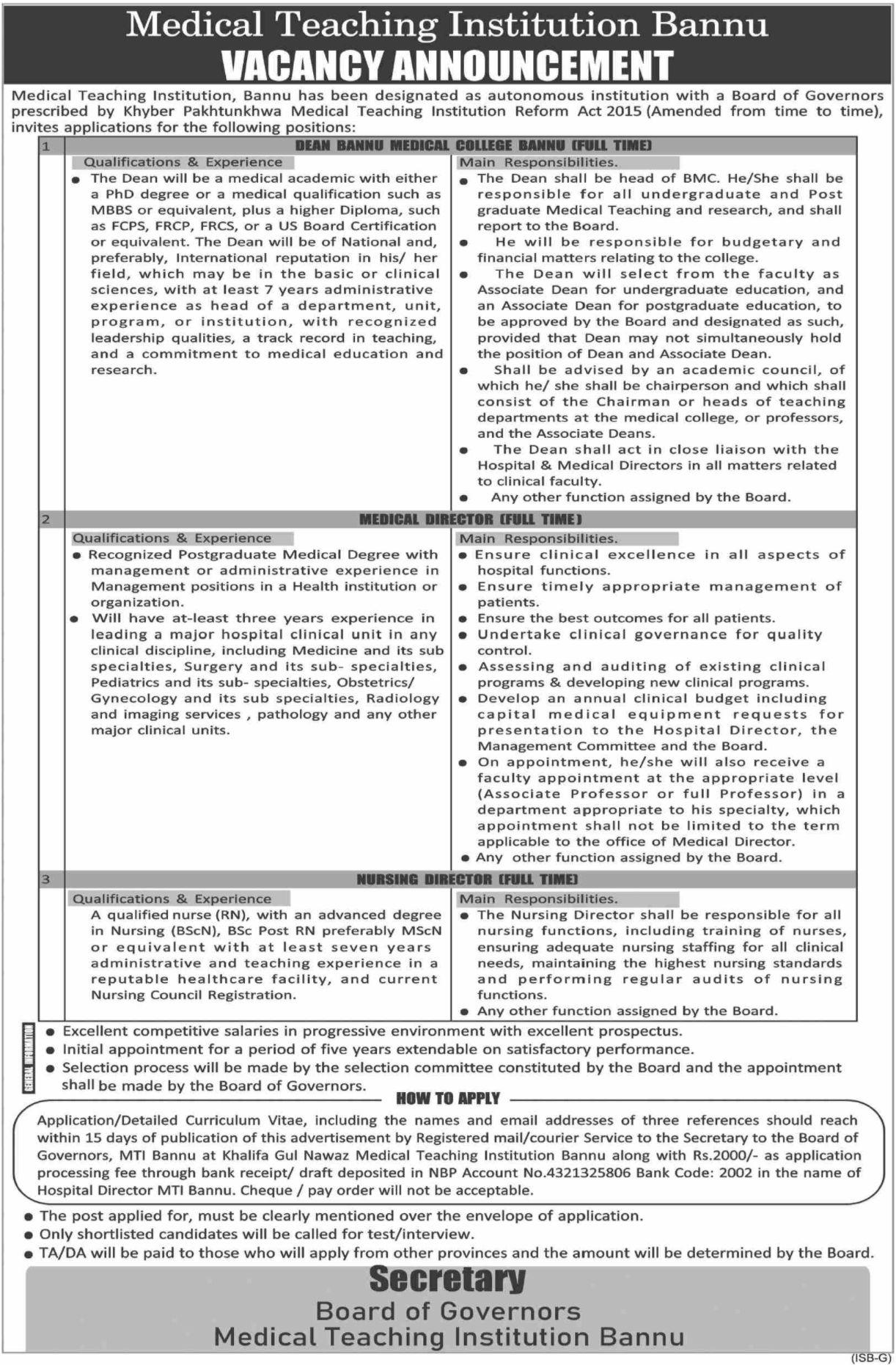Medical Teaching Institution Bannu Vacancies 2021 3