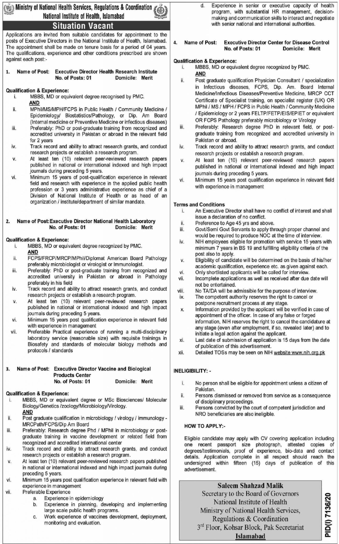 Ministry of National Health Services, Regulations & Coordination Vacancies 2021 3