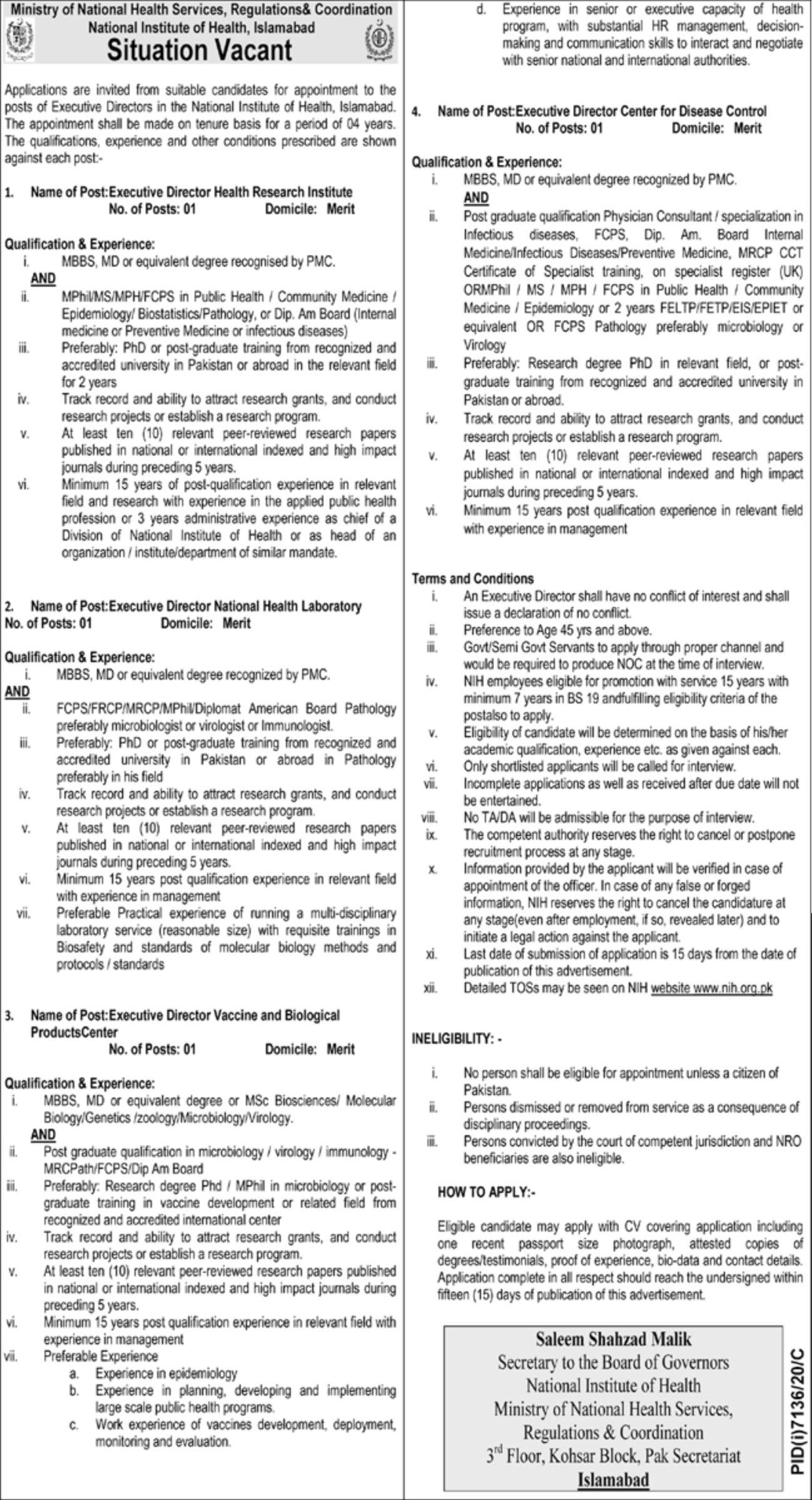 National Institute of Health Islamabad Vacancies 2021 3