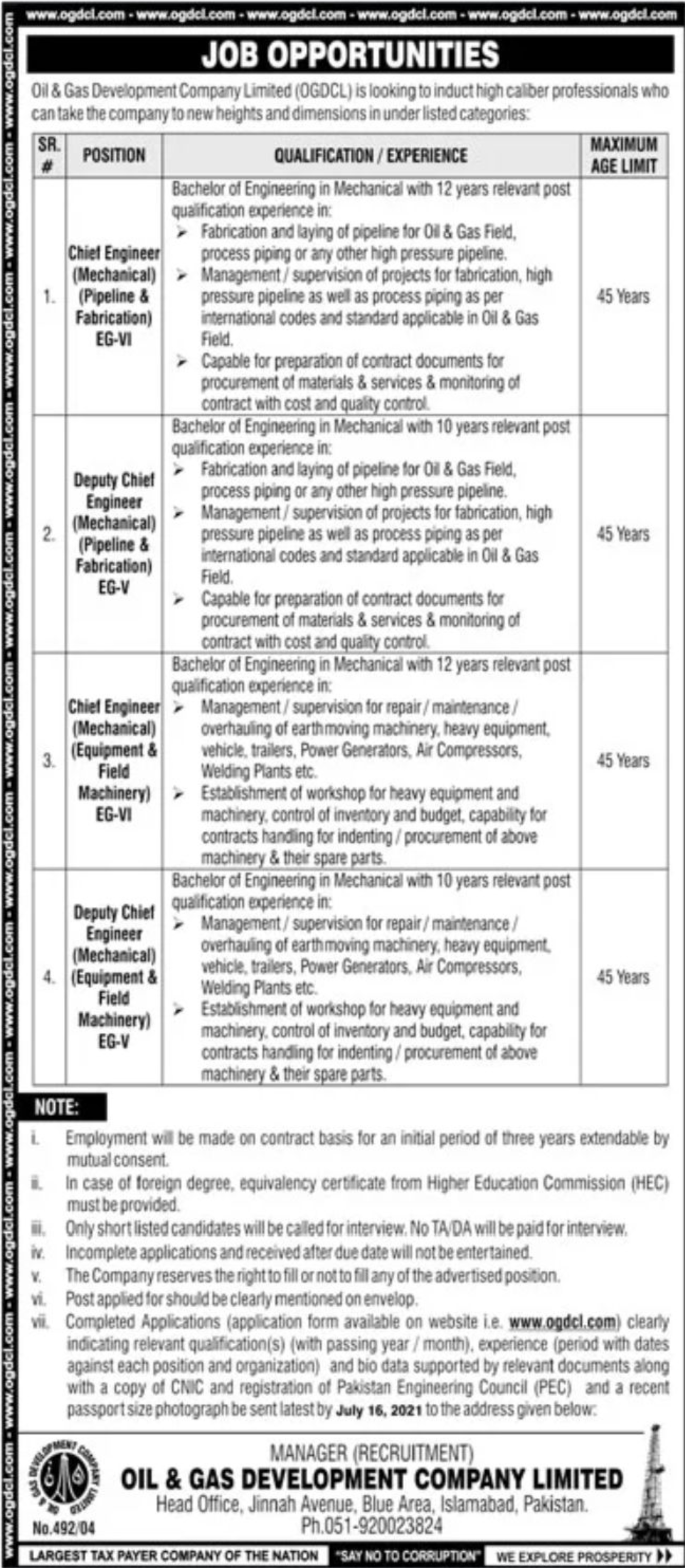OGDCL Oil & Gas Development Company Limited Vacancies 2021 3
