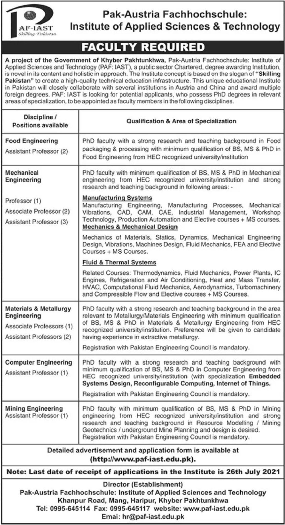 Pak-Austria Fachhochschule-Institute of Applied Sciences & Technology Vacancies 2021 3
