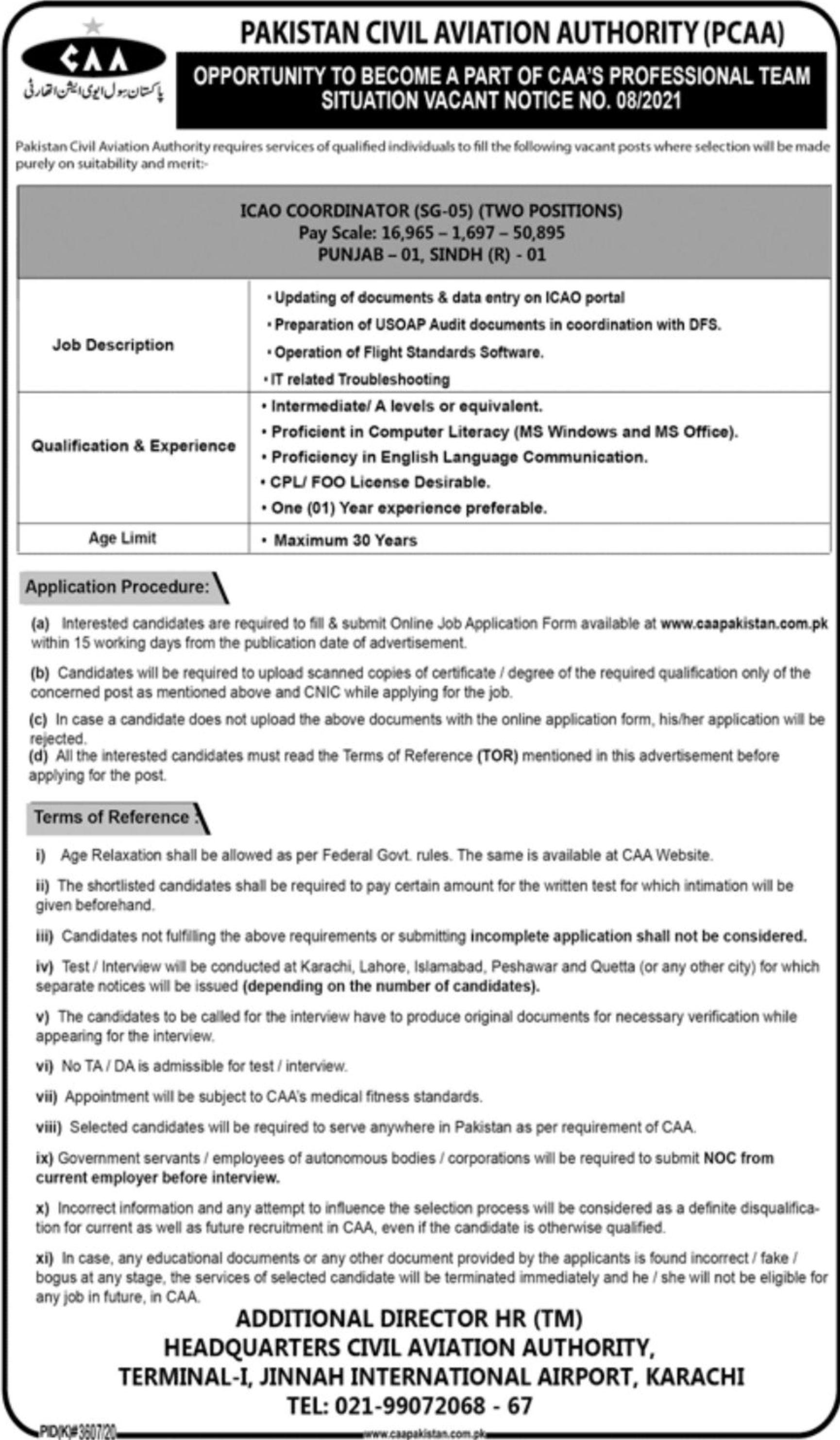 Pakistan Civil Aviation Authority (PCAA) Vacancies 2021 3