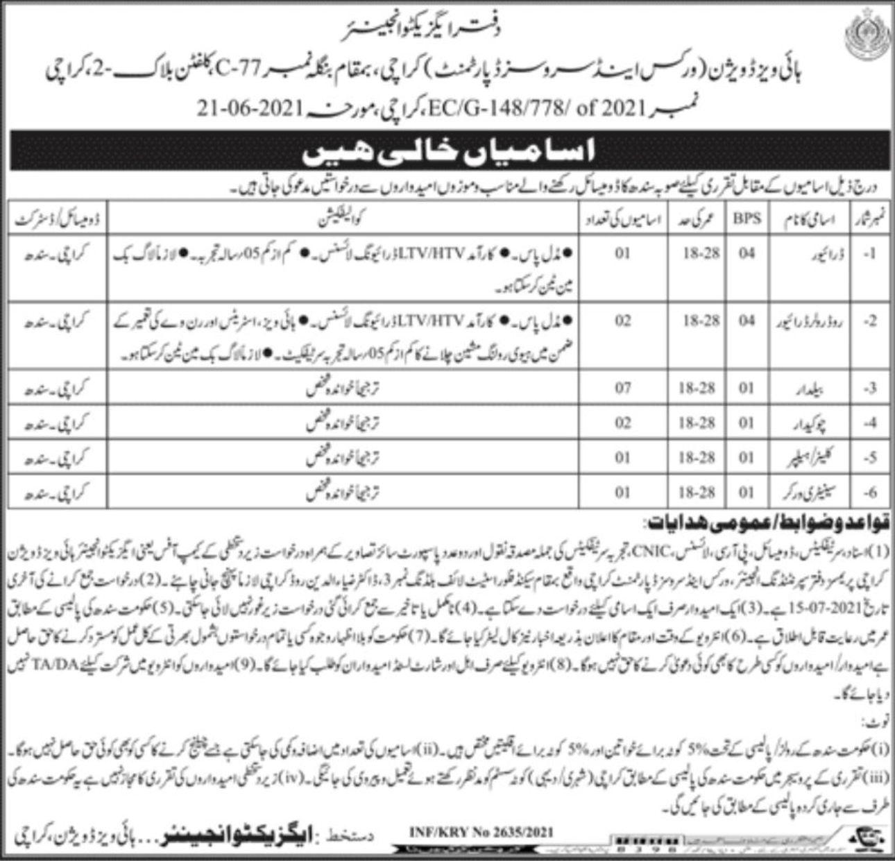 Works & Services Department Karachi Vacancies 2021 3