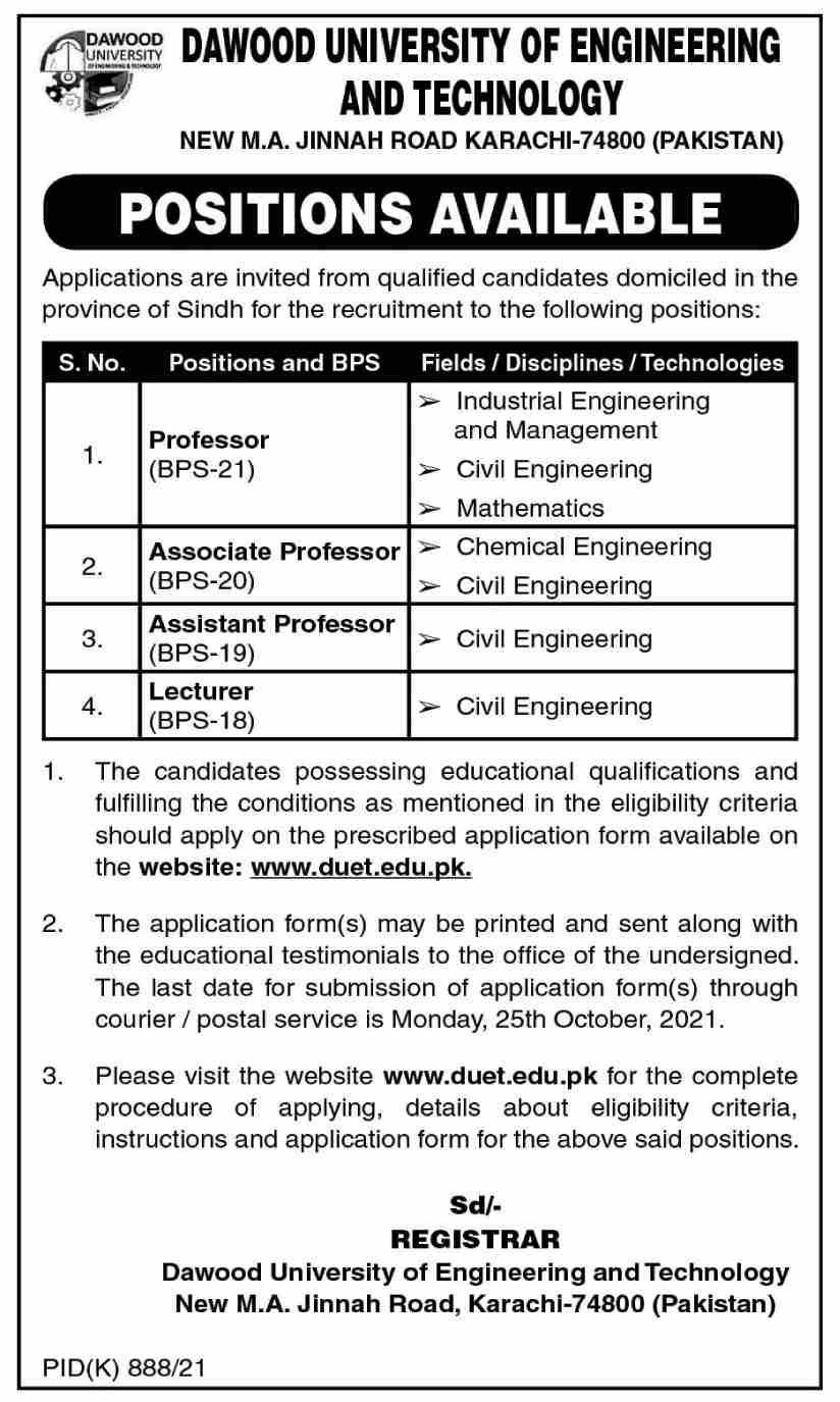 Dawood University of Engineering & Technology Vacancies 2021 – Latest Jobs 3