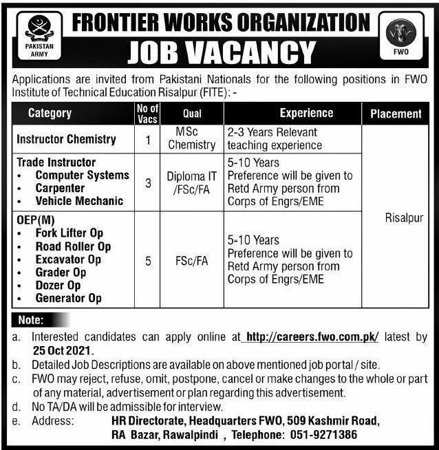 Frontier Works Organization Vacancies 2021 – Latest Jobs 3