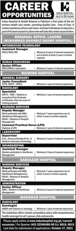 Indus Hospital Lahore Vacancies 2021 – Latest Jobs 3