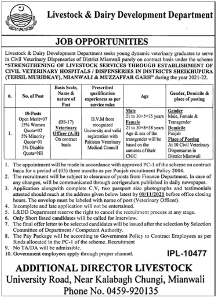 Livestock & Dairy Development Department Vacancies 2021 – Latest Jobs 3