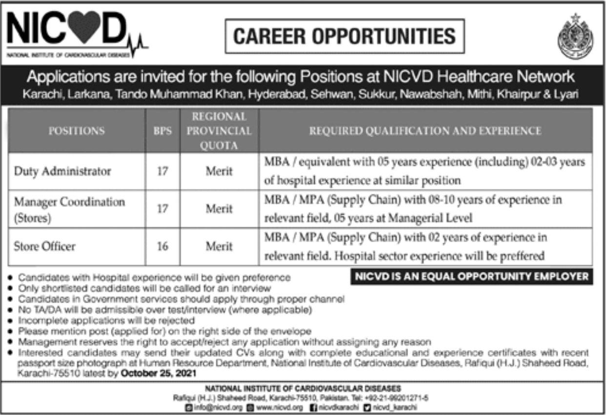 NICVD Karachi Vacancies 2021 – Latest Jobs 3