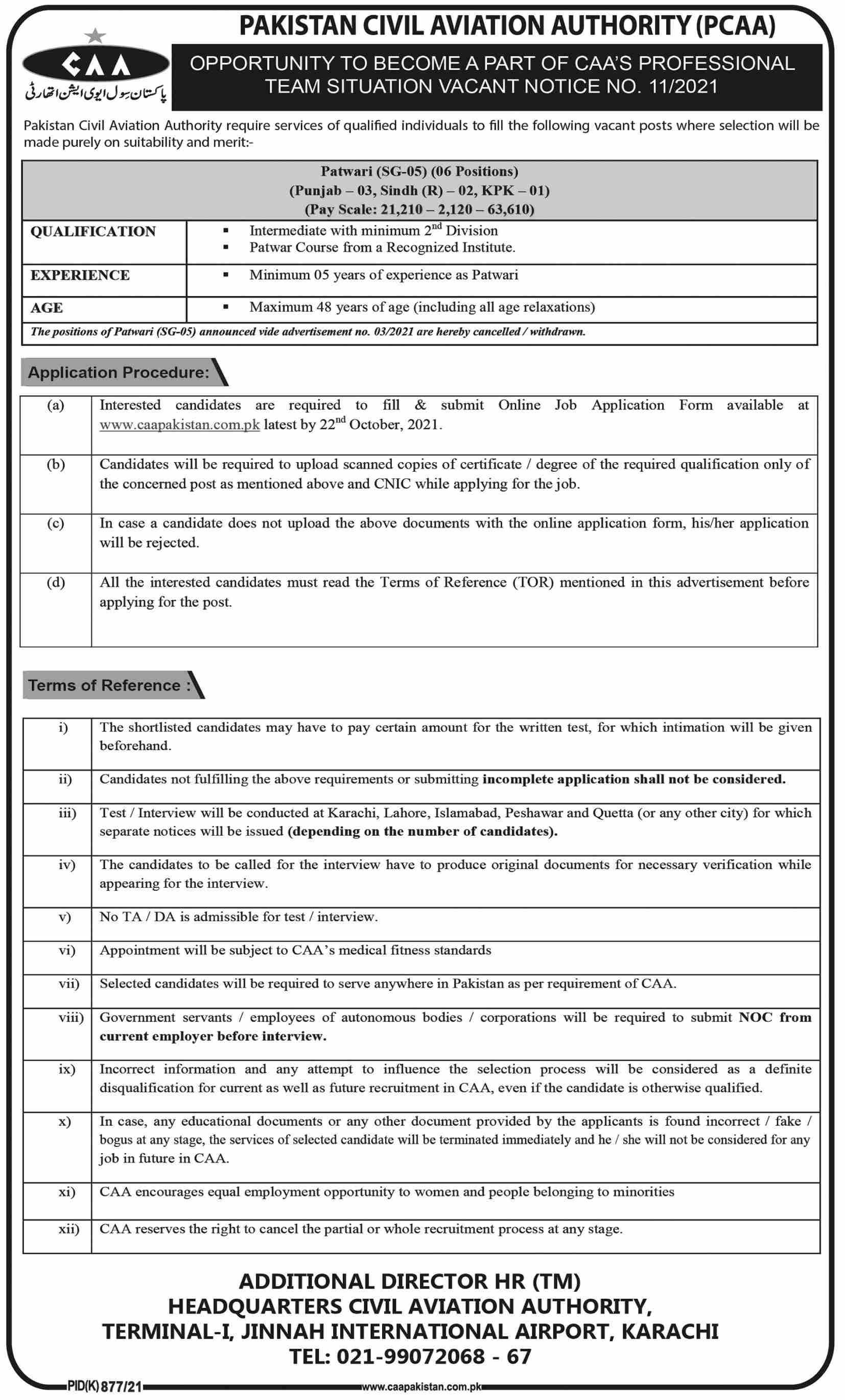 Pakistan Civil Aviation Authority (PCAA) Vacancies 2021 – Latest Jobs 3