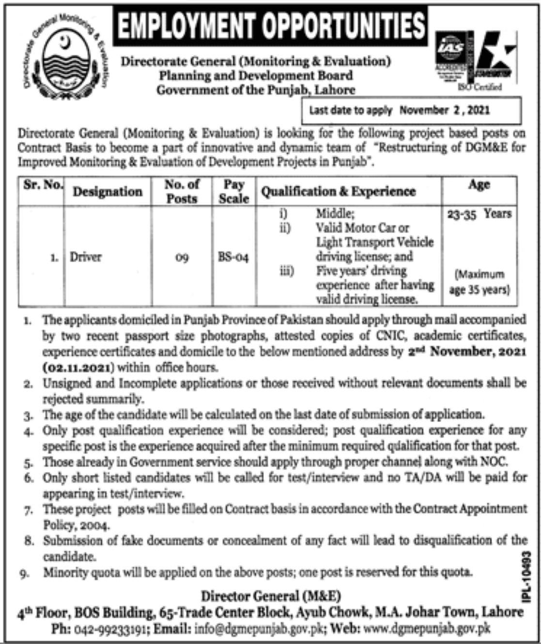 Planning and Development Board Govt of Punjab Lahore Vacancies 2021 – Latest Jobs 3