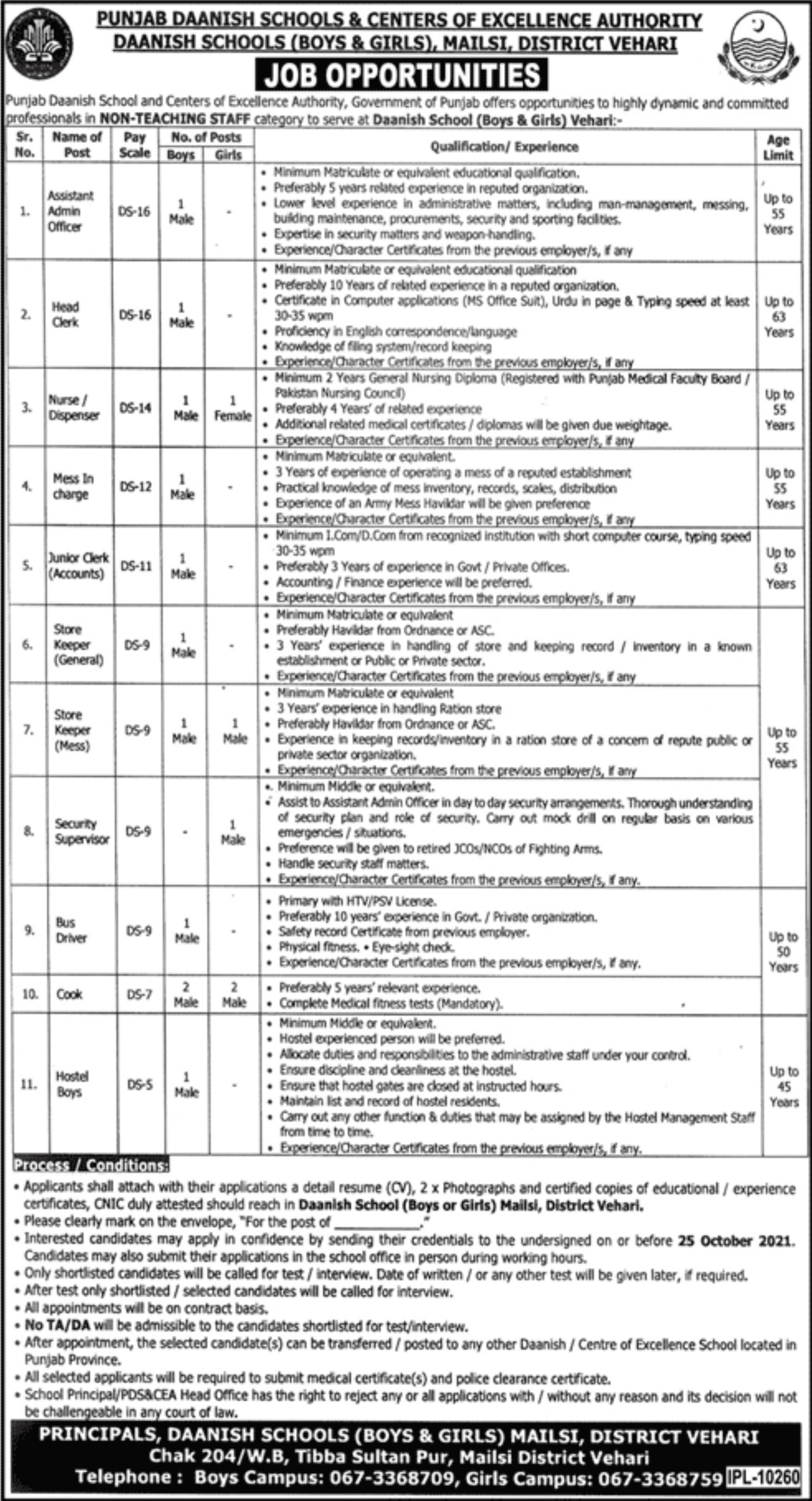 Punjab Daanish Schools & Centers of Excellence Authority Vacancies 2021 – Latest Jobs 3