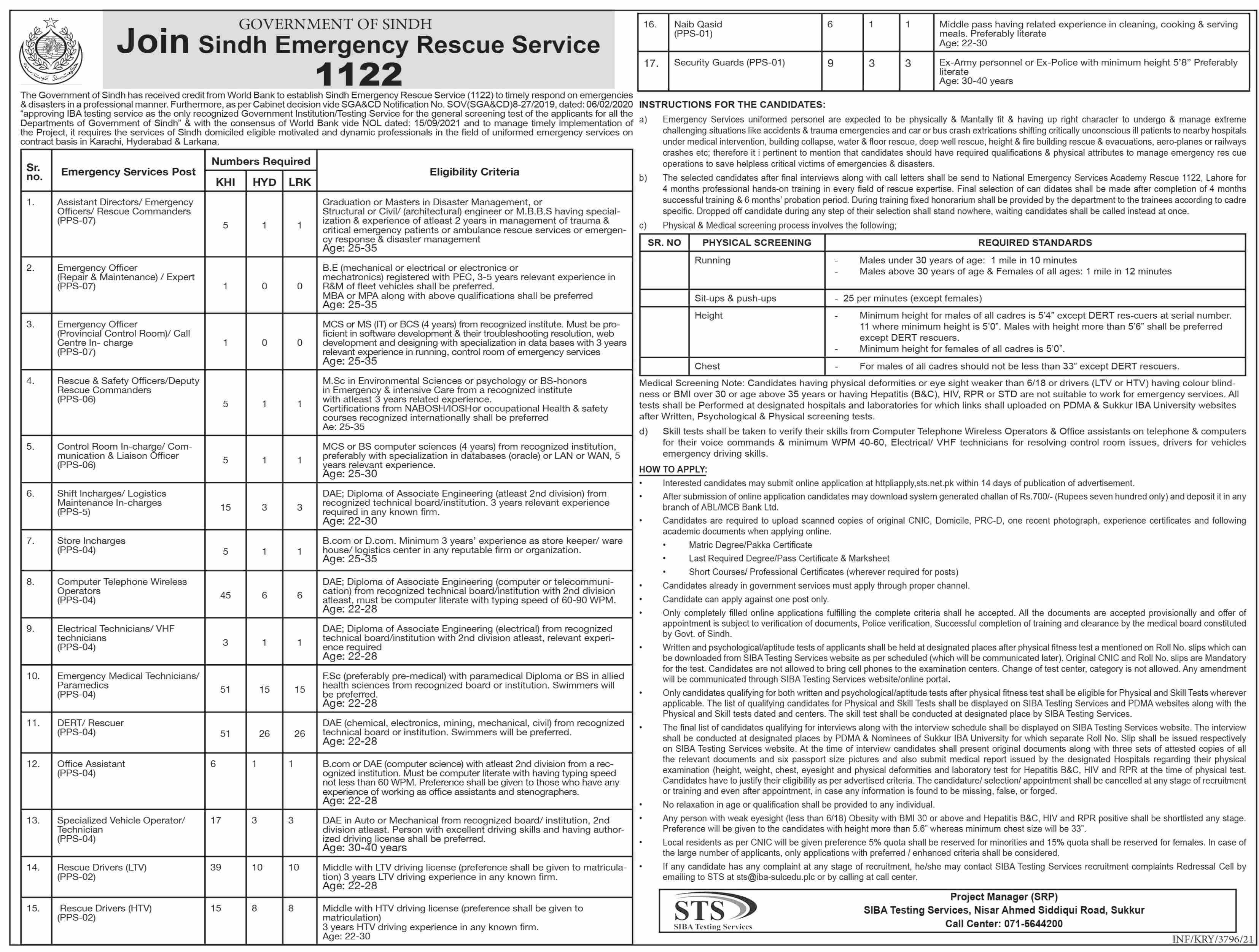 Rescue Service 1122 Sindh Vacancies 2021 – Latest Jobs 3