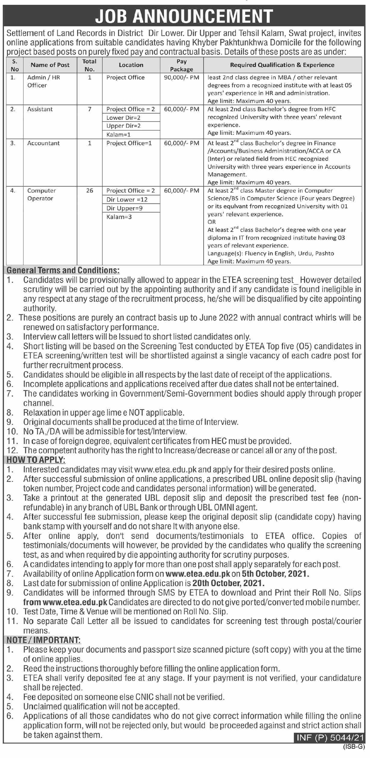 Settlement Of Land Records Swat Project Vacancies 2021 – Latest Jobs 3