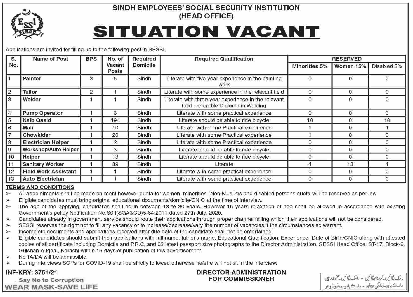 Sindh Employees Social Security Institution Vacancies 2021 – Latest Jobs 3
