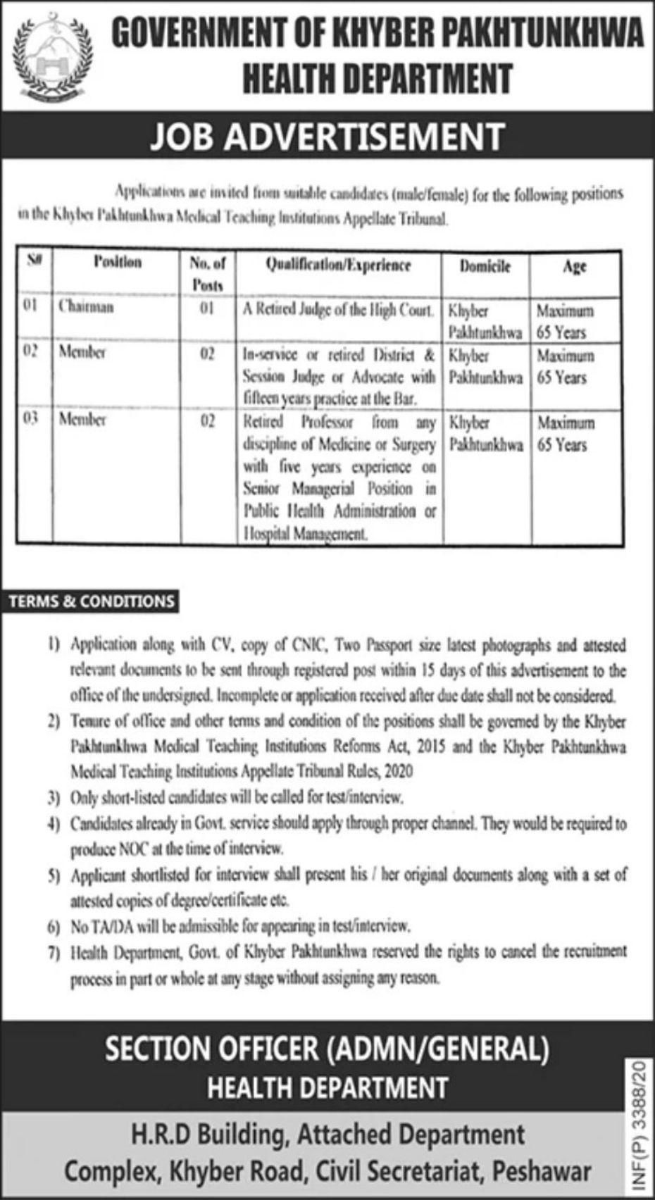 Health Department Government of KPK Vacancies 2020 ...
