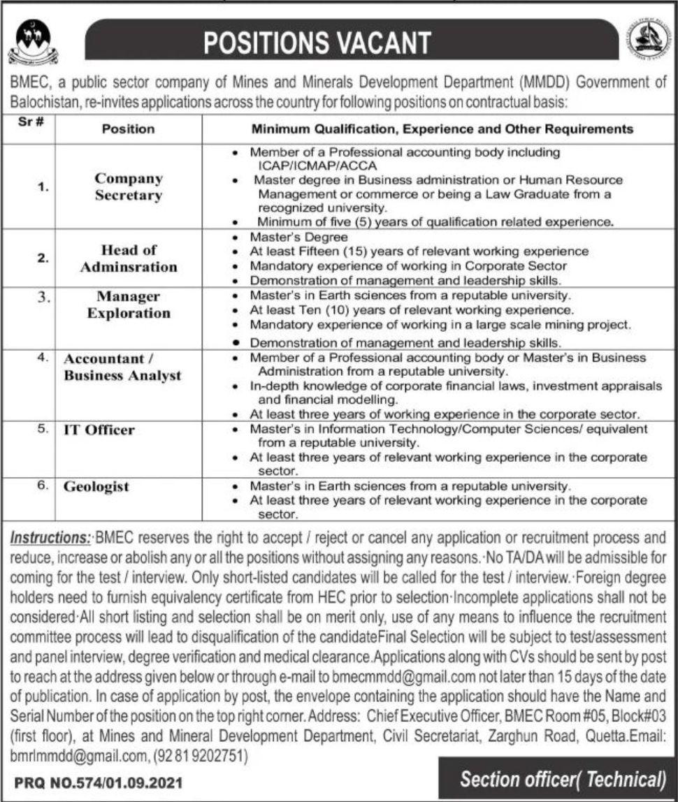BMEC Public Sector Company of Mines and Minerals Development Department Vacancies 2021 3