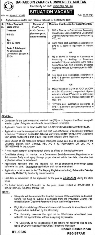Bahauddin Zakariya University Multan Vacancies 2021 3