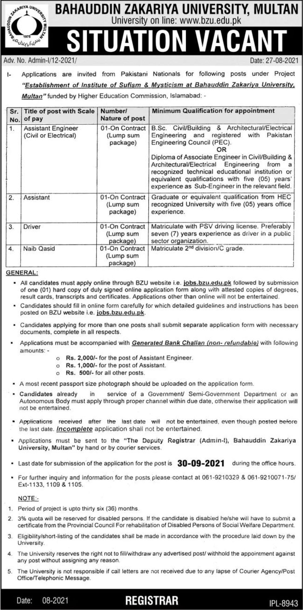 Bahauddin Zakariya University BZU Multan Vacancies 2021 3