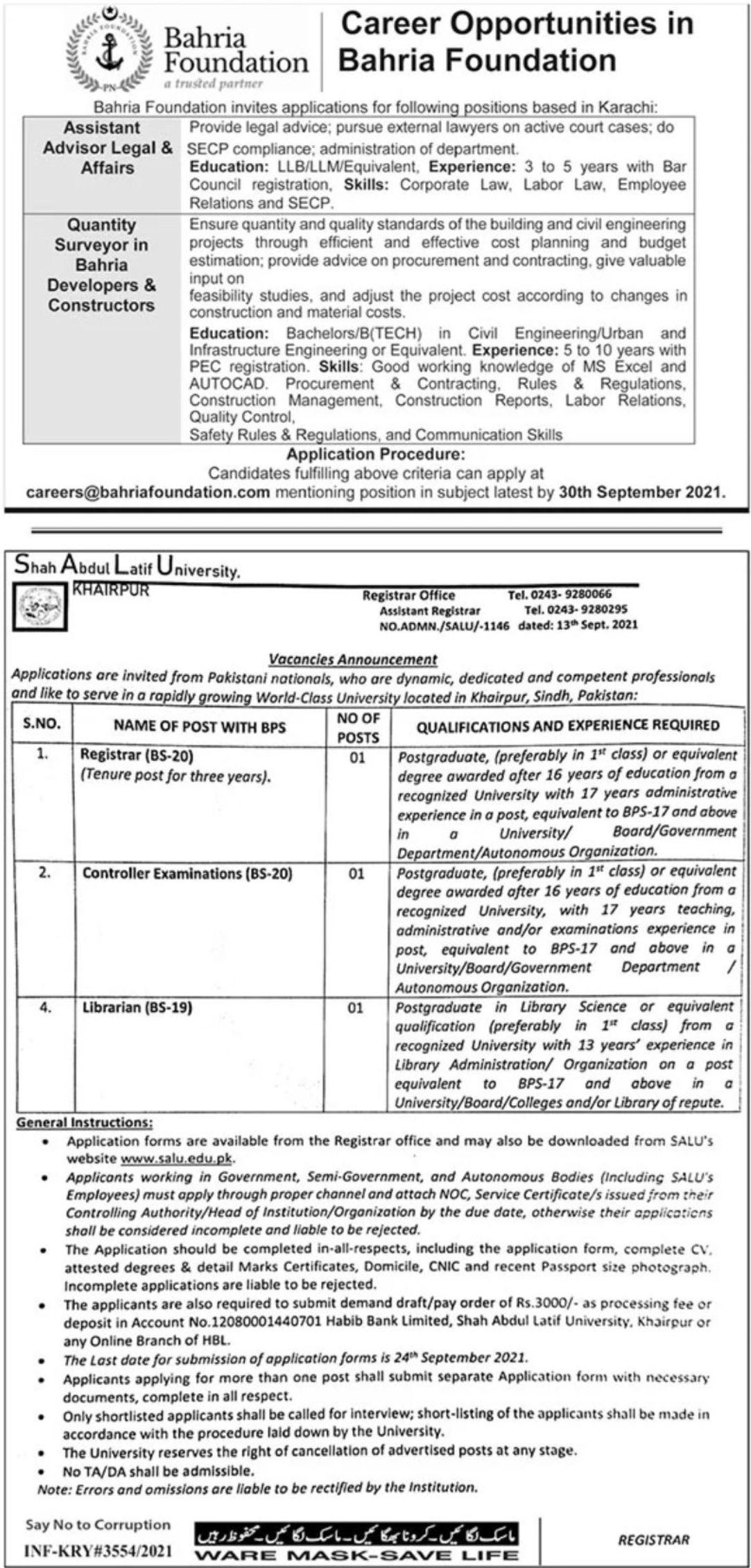 Bahria Foundation Vacancies 2021 – Dailyjobs.pk 3