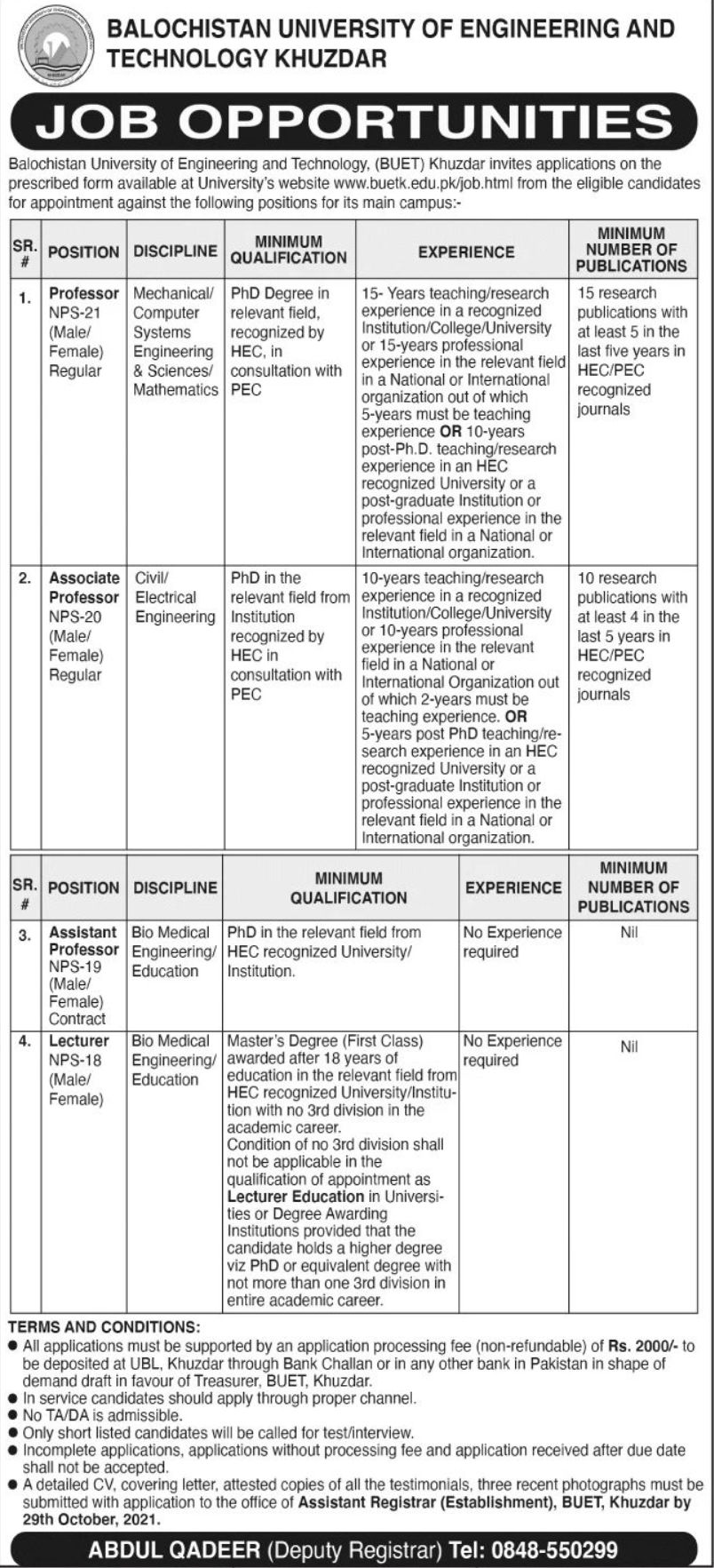 Balochistan University of Engineering and Technology Khuzdar Vacancies 2021 – Latest Jobs 3