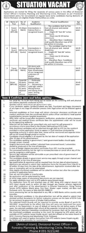 Forestry Planning and Monitoring Circle Peshawar Vacancies 2021 – Latest Jobs 3