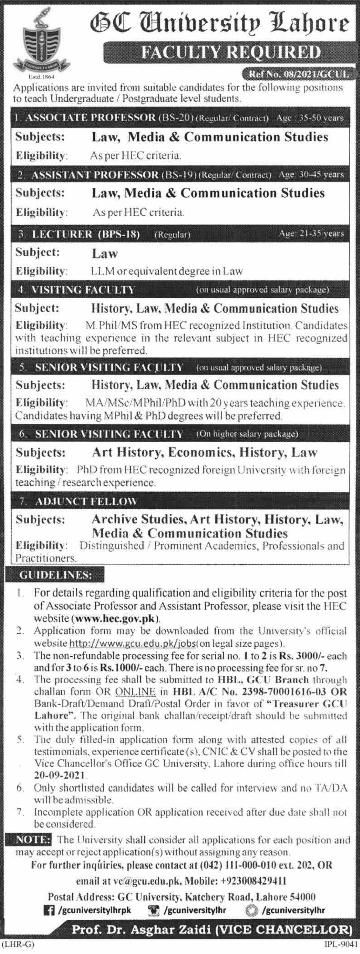 GC University Lahore Vacancies 2021 3