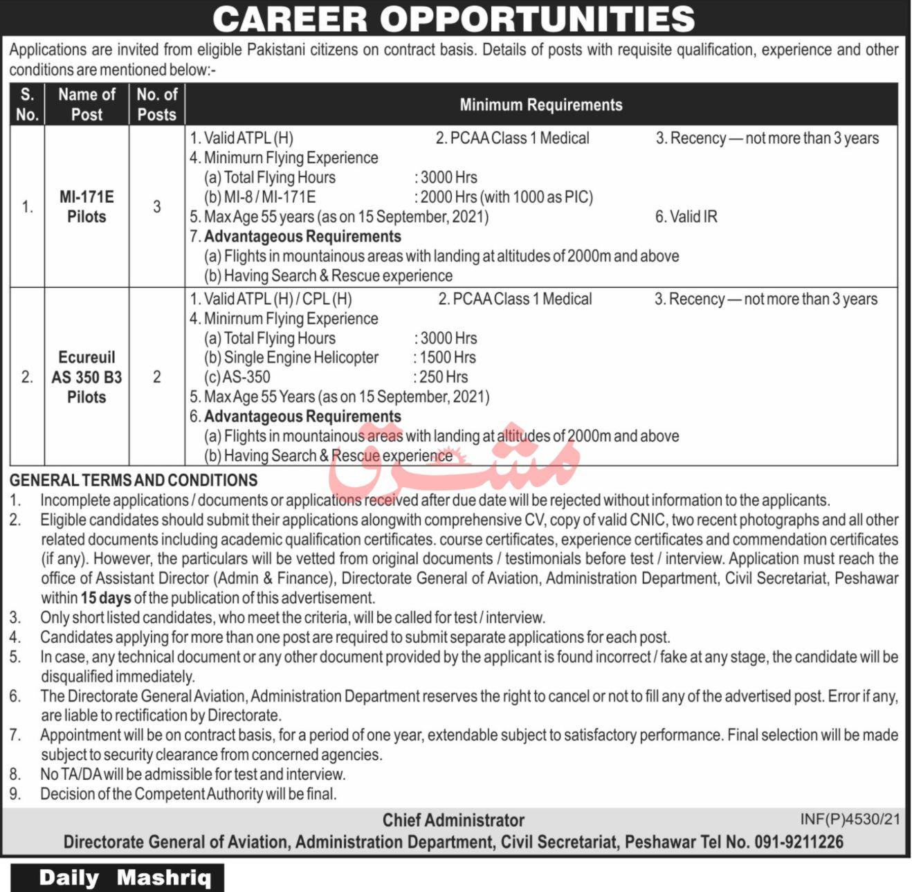 General Aviation Department Vacancies 2021 3