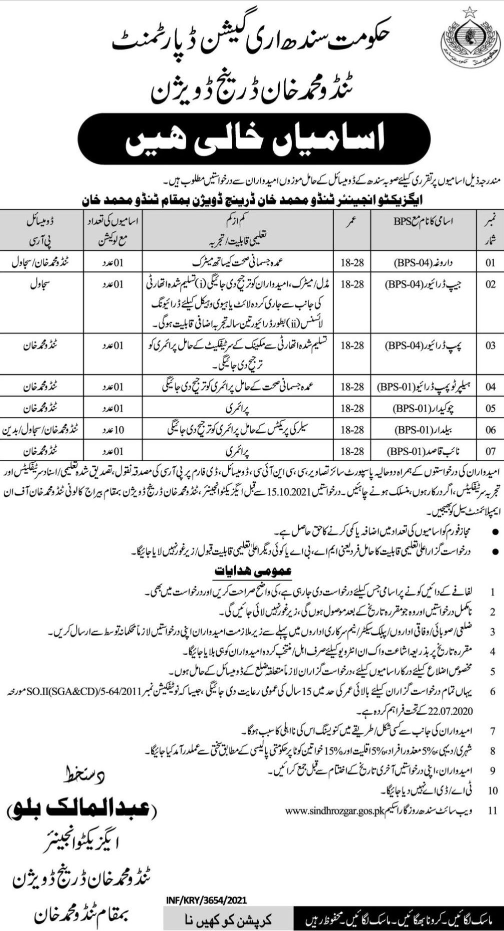 Government of Sindh Irrigation Department Vacancies 2021 – Latest Jobs 3