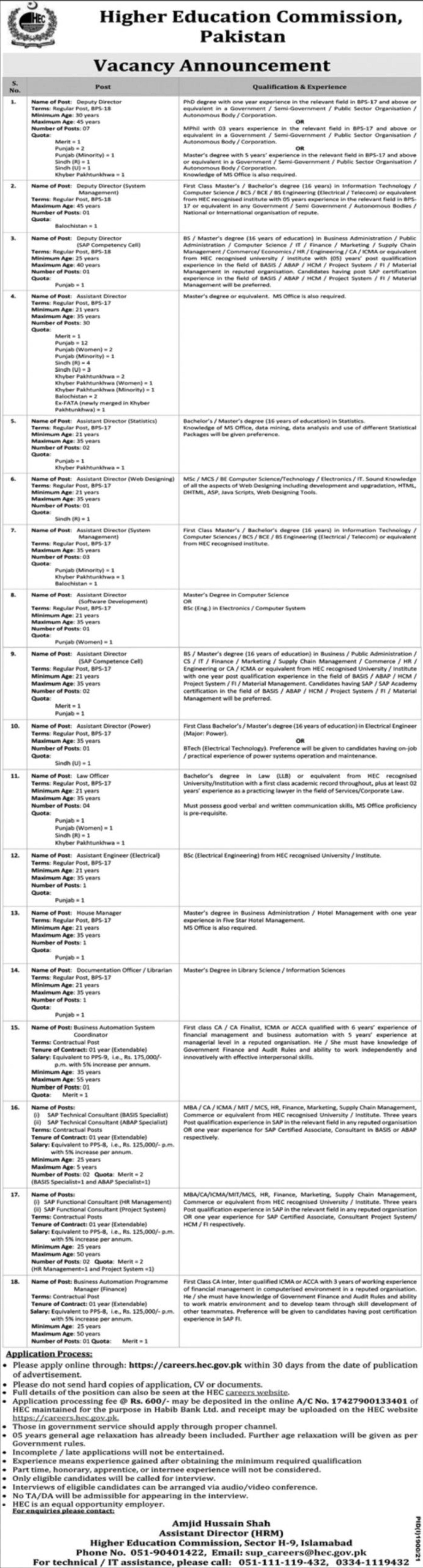 Higher Education Commission HEC Pakistan Vacancies 2021 – Latest Jobs 3