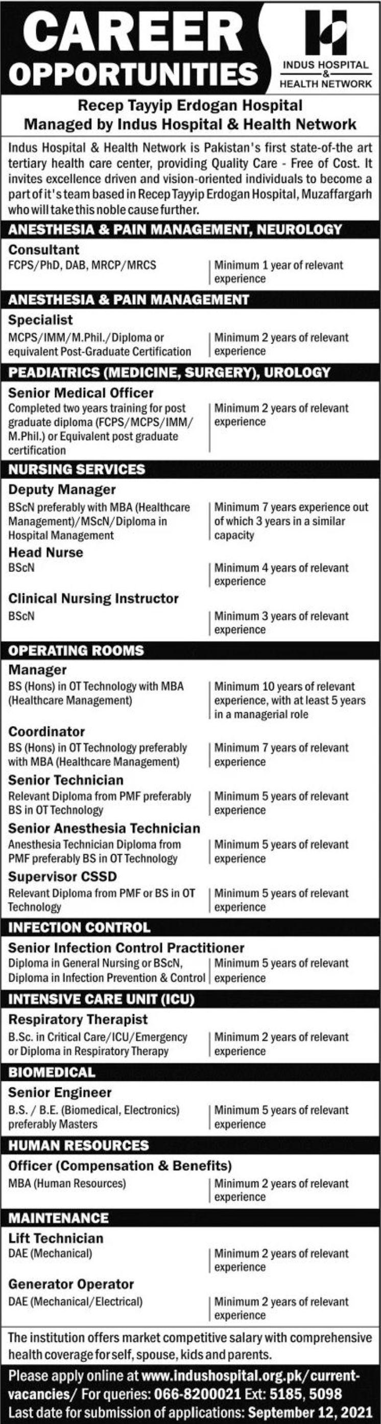 Indus Hospital & Health Network Vacancies 2021 3