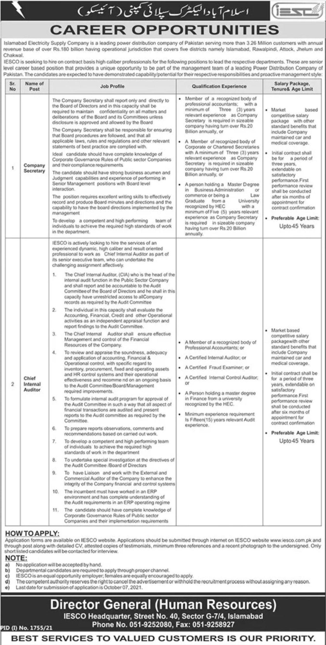 Islamabad Electric Supply Company IESCO Vacancies 2021 – Dailyjobs.pk 3