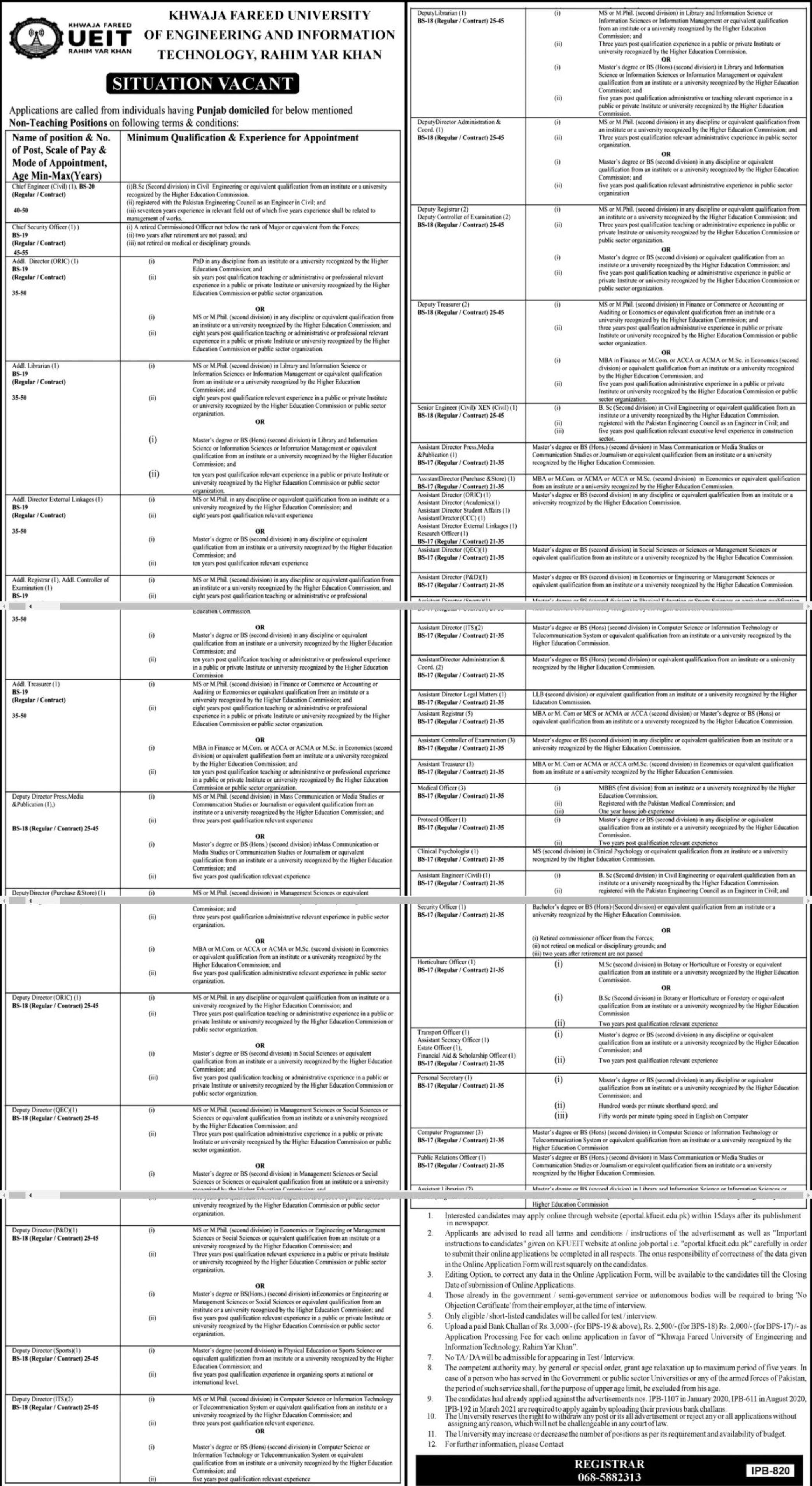 Khwaja Fareed University of Engineering and Information Technology Vacancies 2021 3