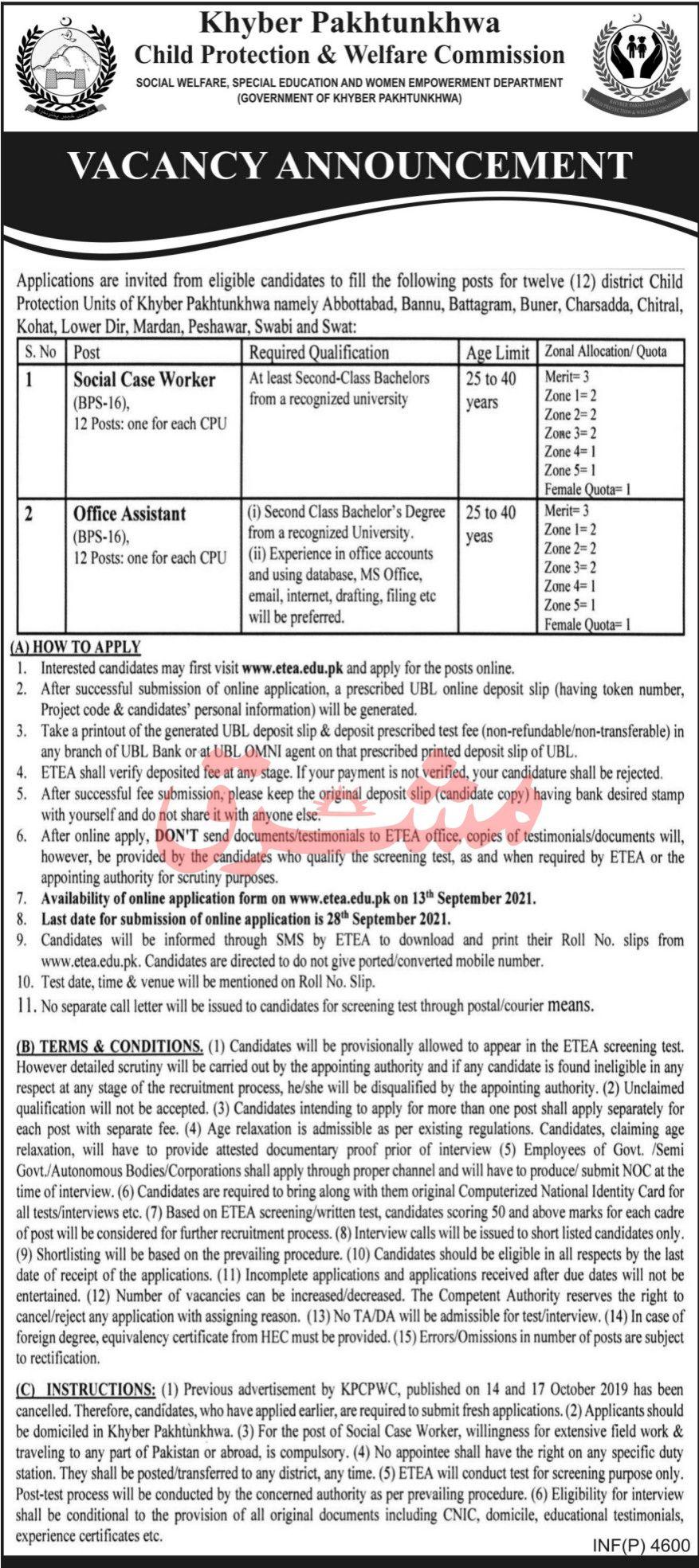 Khyber Pakhtunkhwa Child Protection & Welfare Commission Vacancies 2021 3