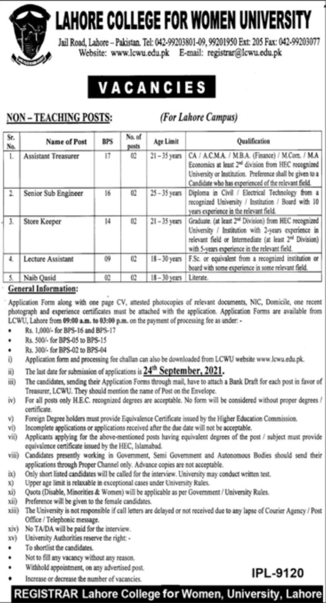 Lahore College for Women University Vacancies 2021 3