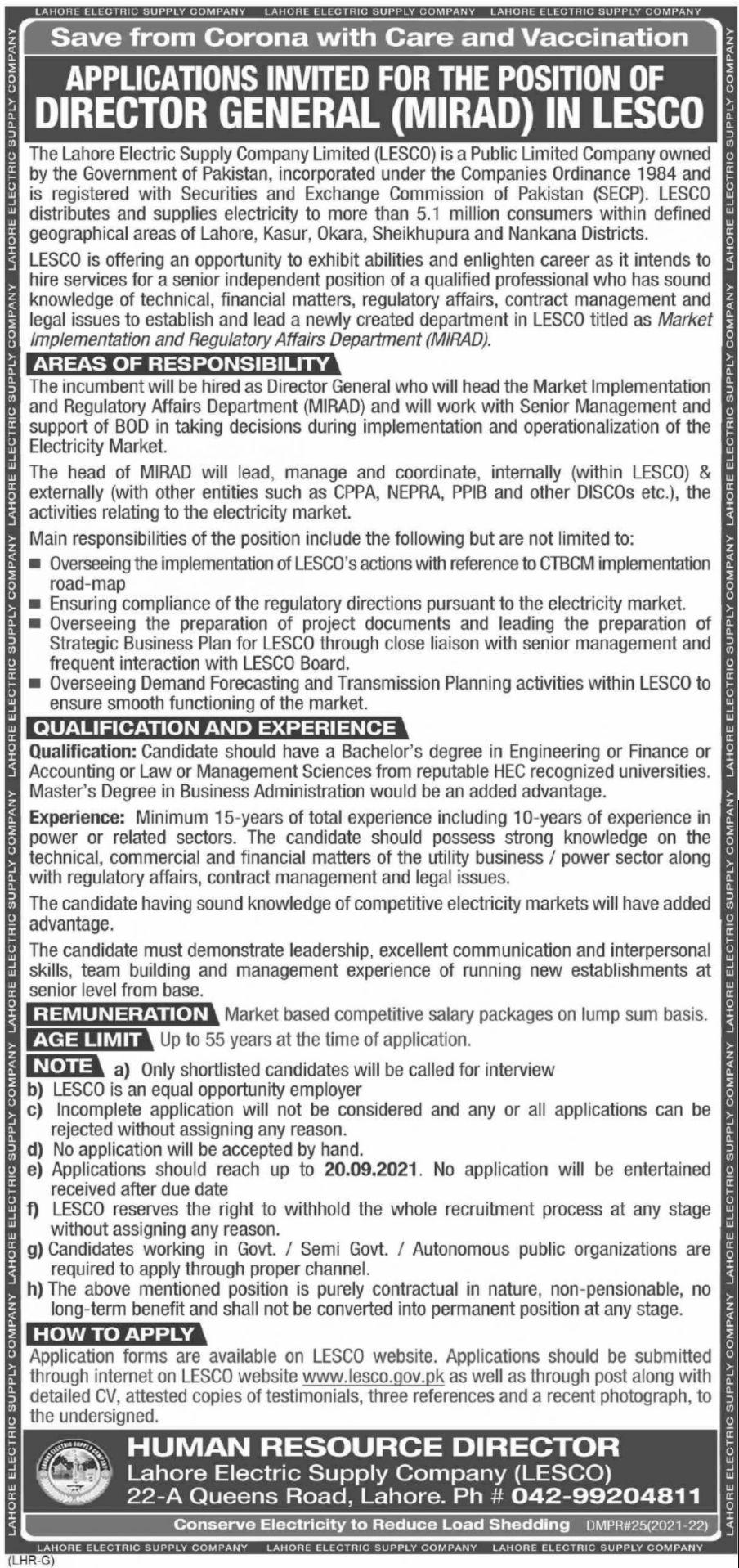 Lahore Electric Supply Company LESCO Vacancies 2021 3