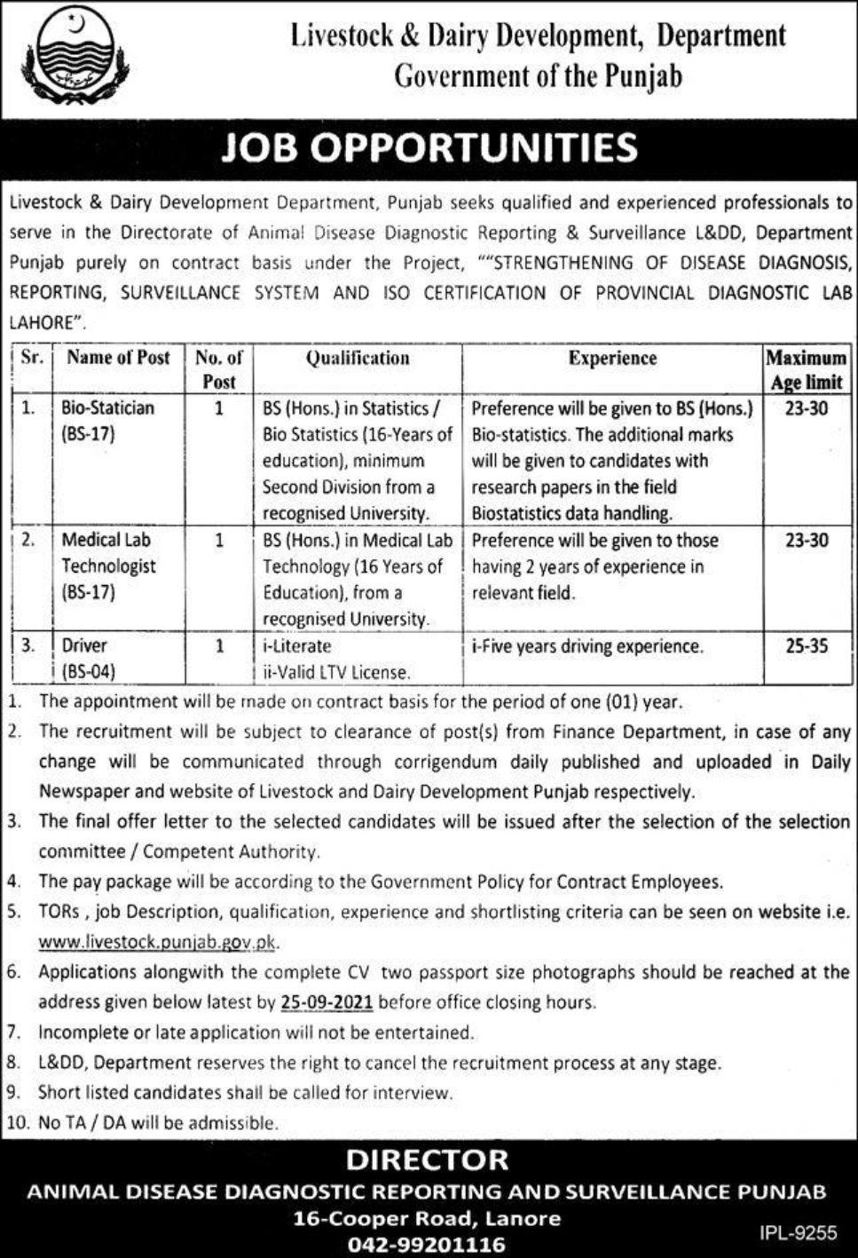Livestock & Dairy Development Department Government of the Punjab Vacancies 2021 3