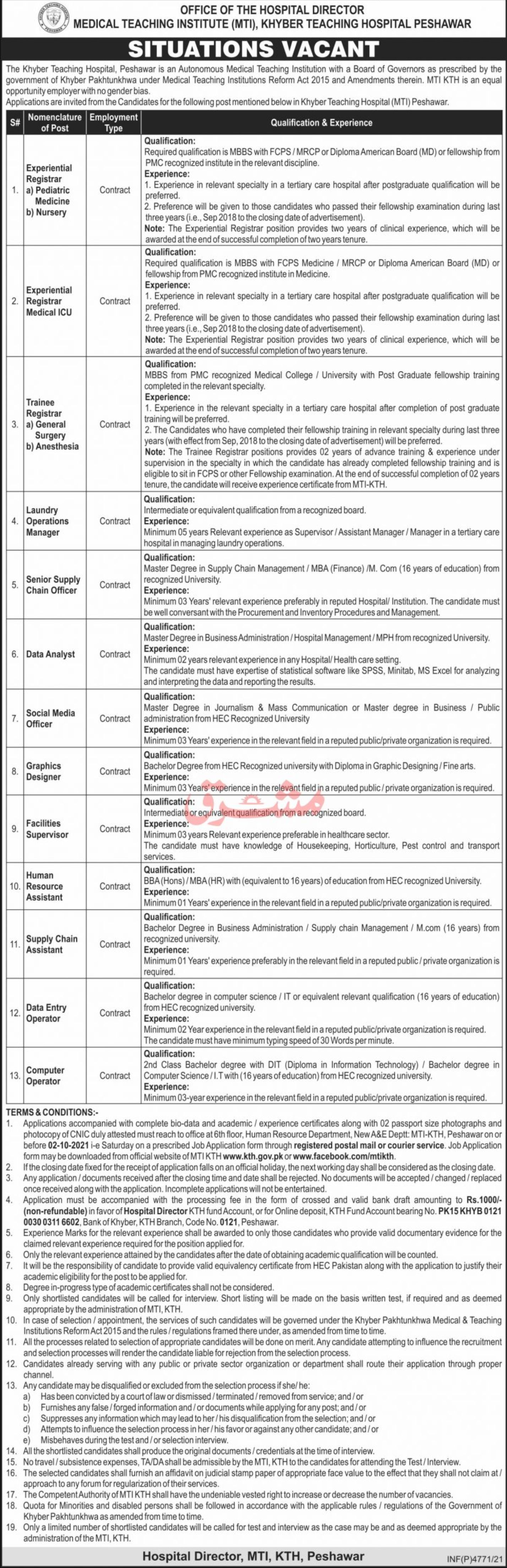 Medical Teaching Institute MTI Vacancies 2021 – Dailyjobs.pk 3