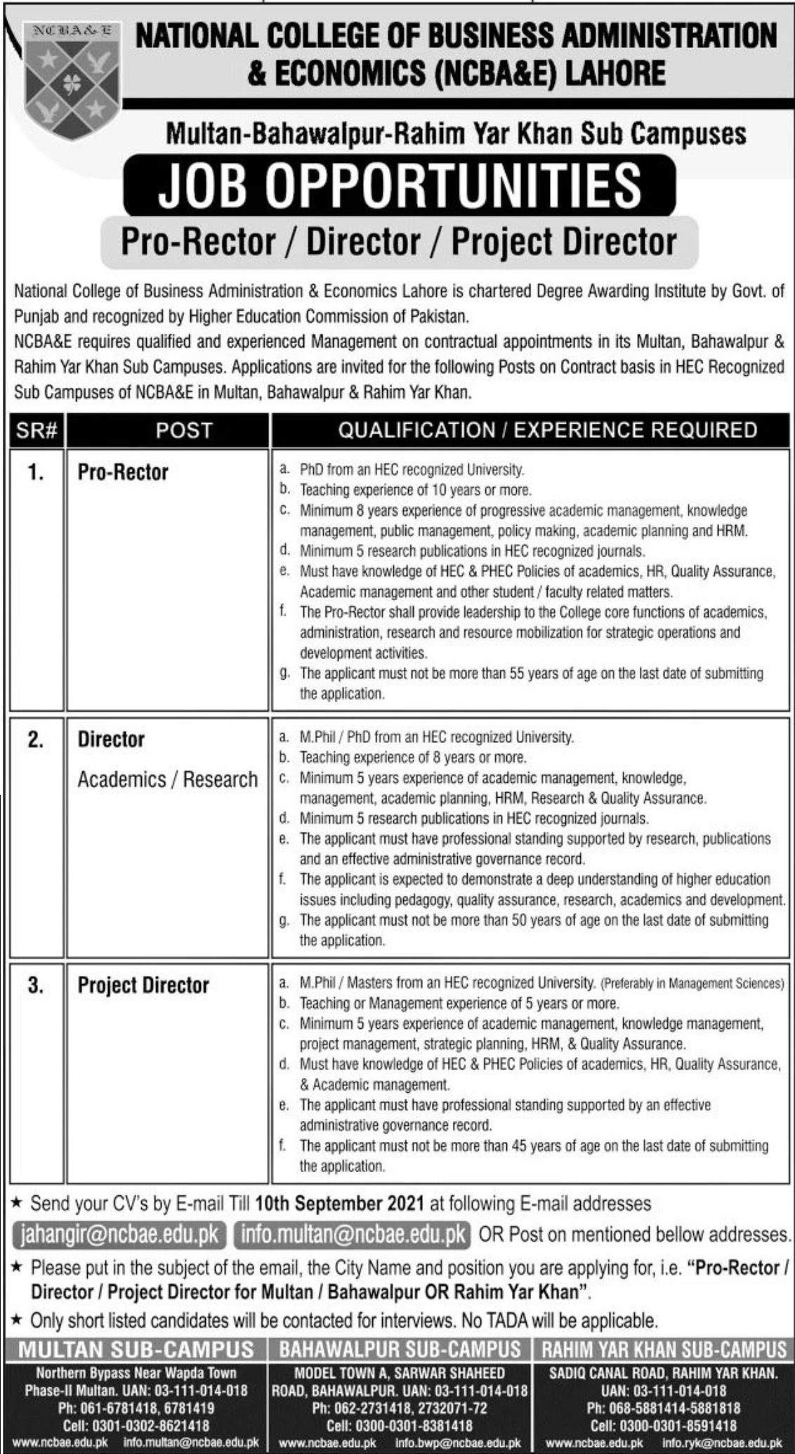 National College of Business Administration & Economics NCBA&E Lahore Vacancies 2021 3