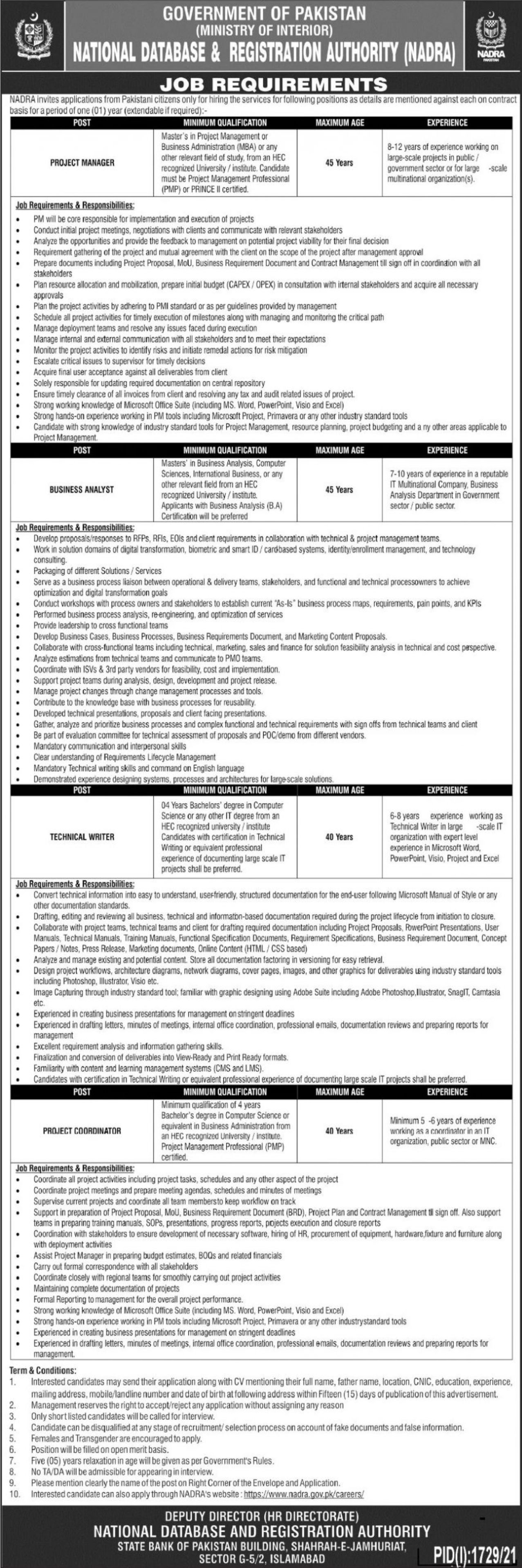 National Database & Registration Authority NADRA Vacancies 2021 – Dailyjobs.pk 3