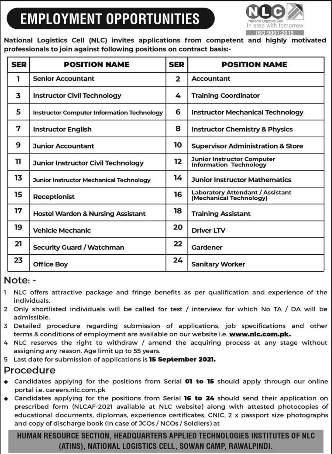 National Logistics Cell NLC Vacancies 2021 3