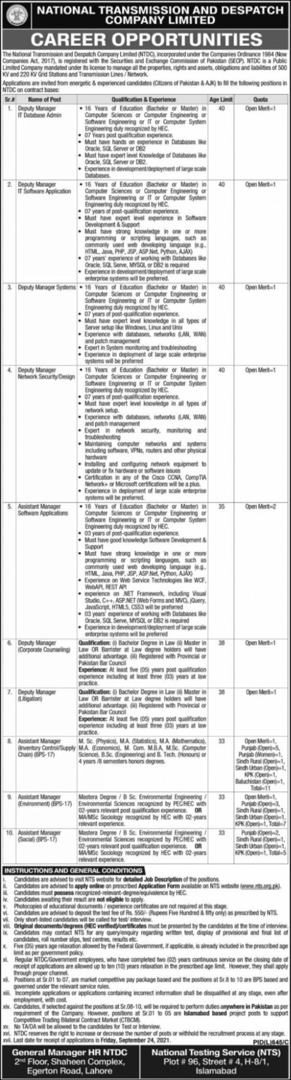 National Transmission and Dispatch Company Limited NTDC Vacancies 2021 3
