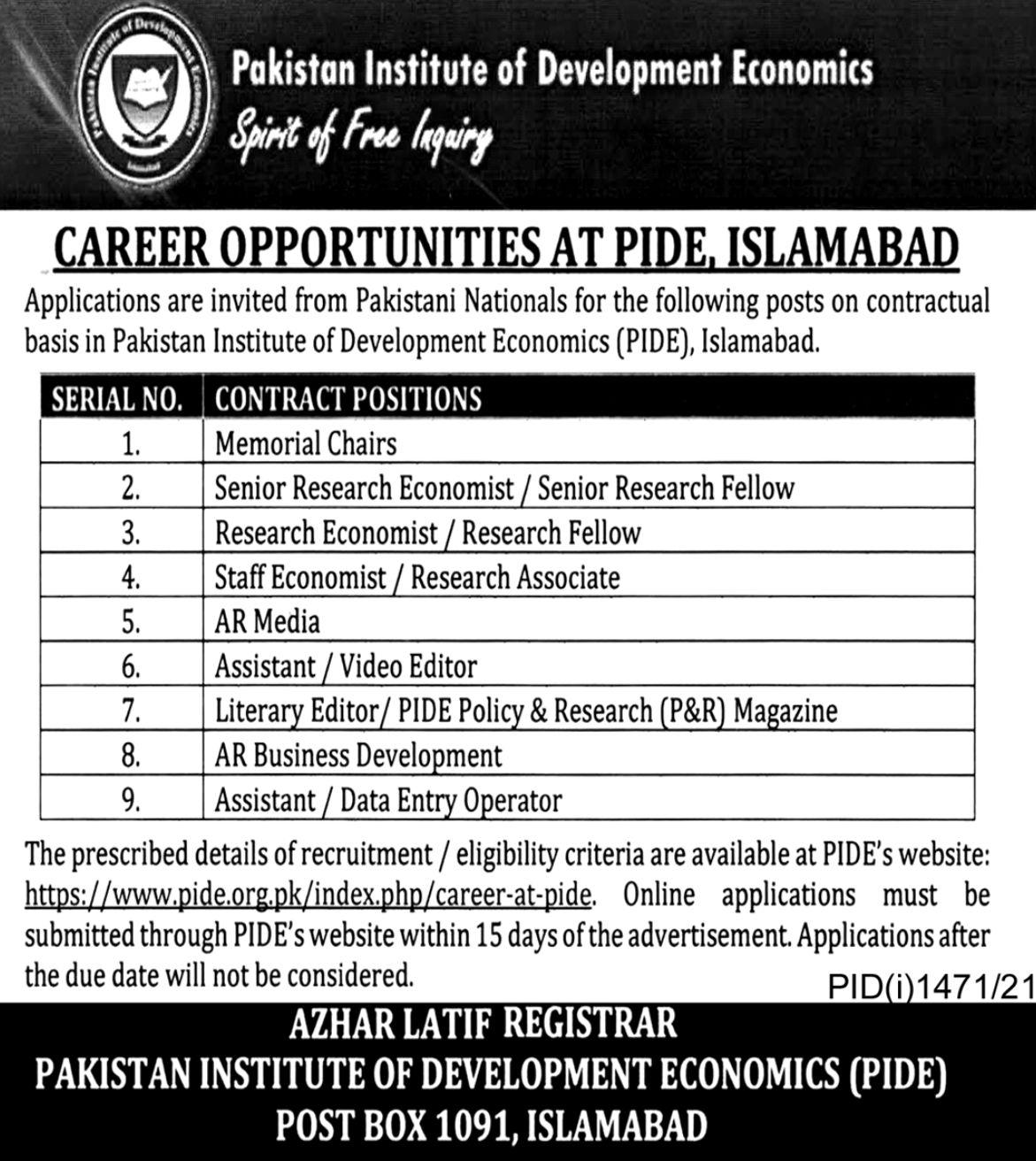 Pakistan Institute of Development Economics PIDE vacancies 2021 3
