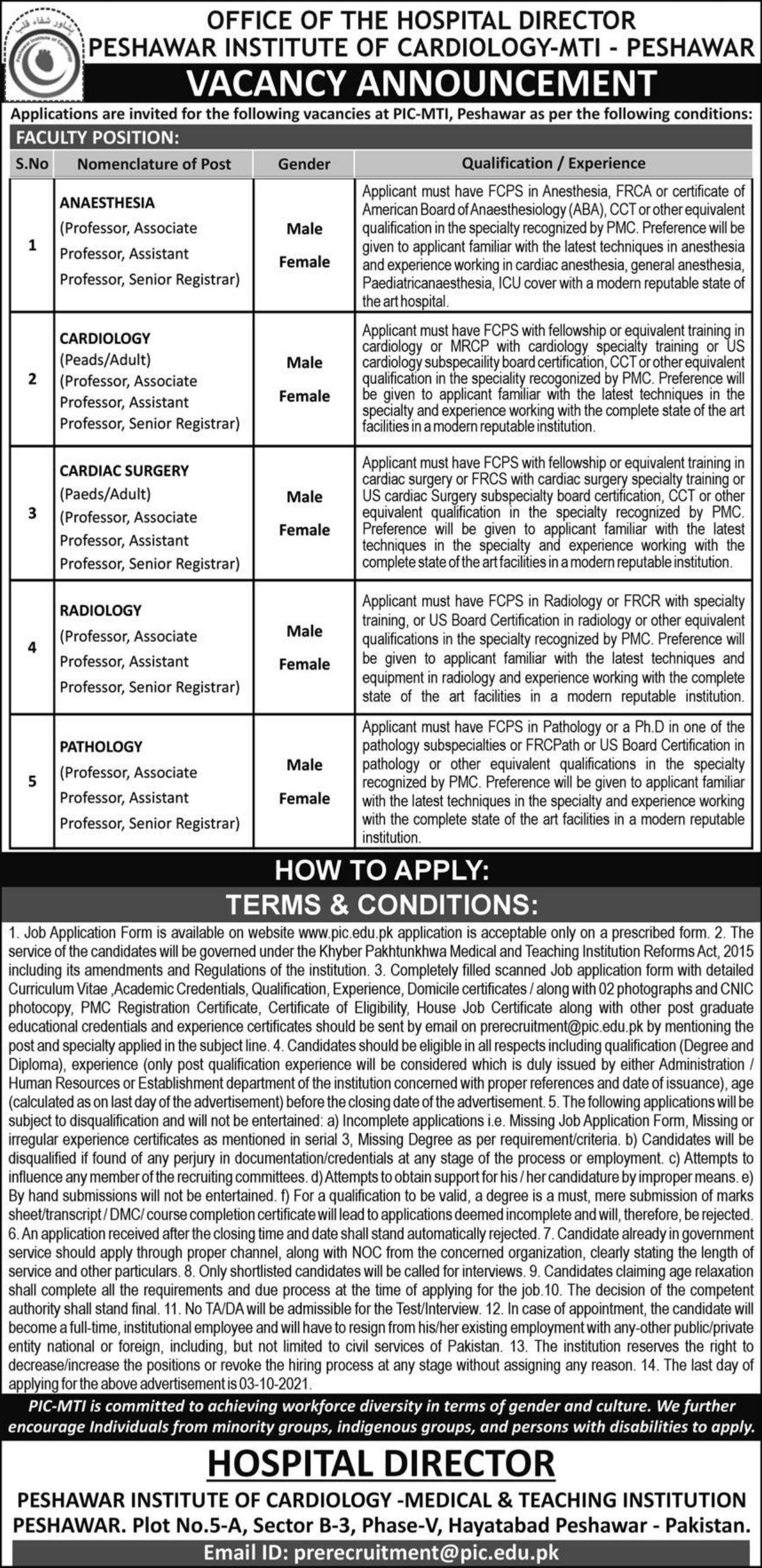 Peshawar Institute of Cardiology MTI Peshawar Vacancies 2021 – Dailyjobs.pk 3
