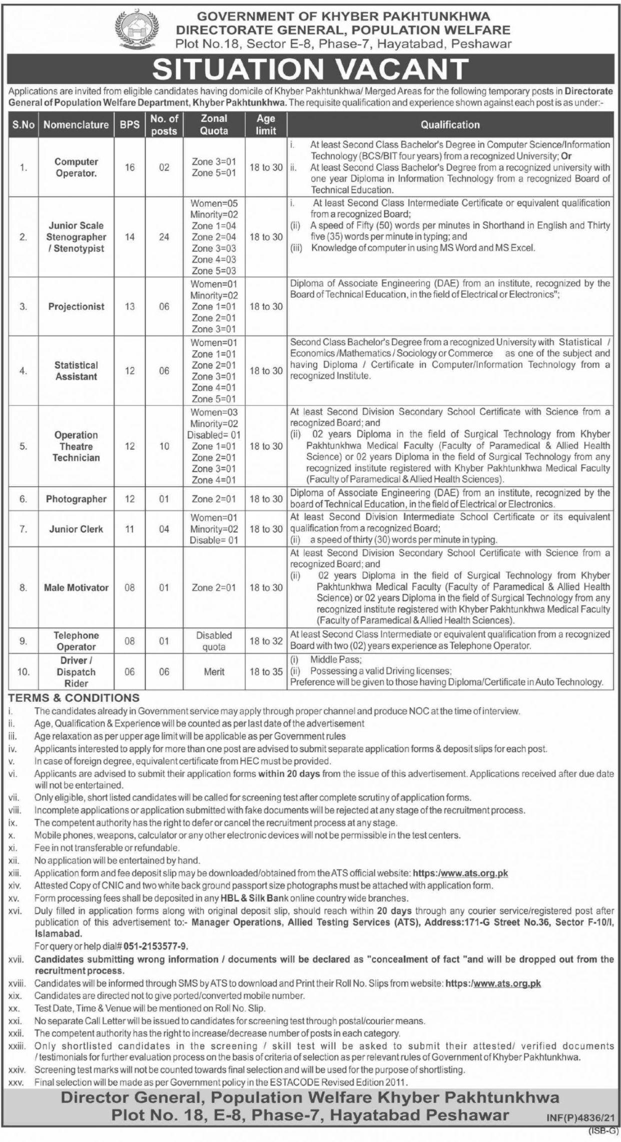 Population Welfare Department Khyber Pakhtunkhwa Vacancies 2021 – Latest Jobs 3
