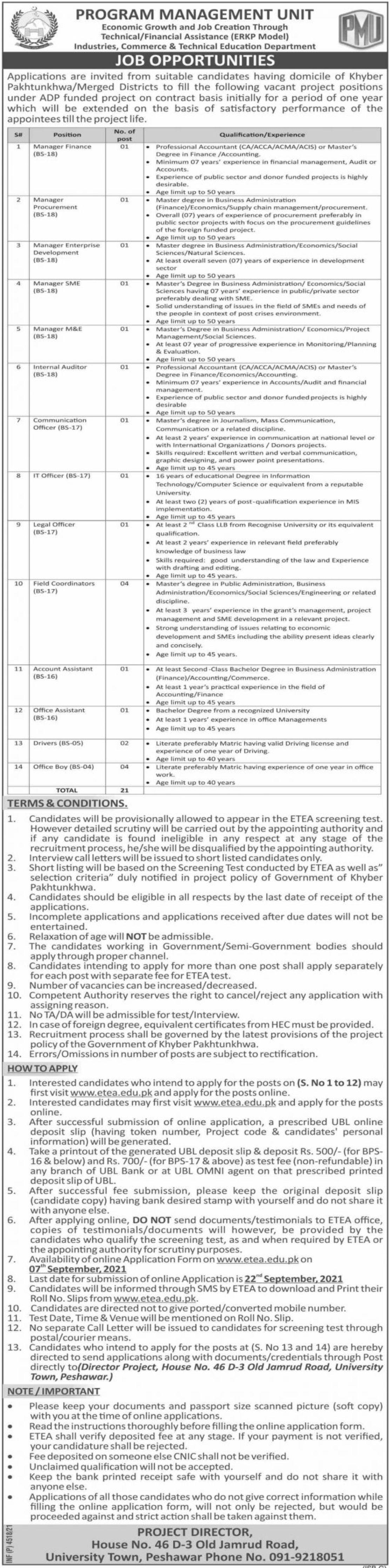 Program Management Unit Vacancies 2021 3