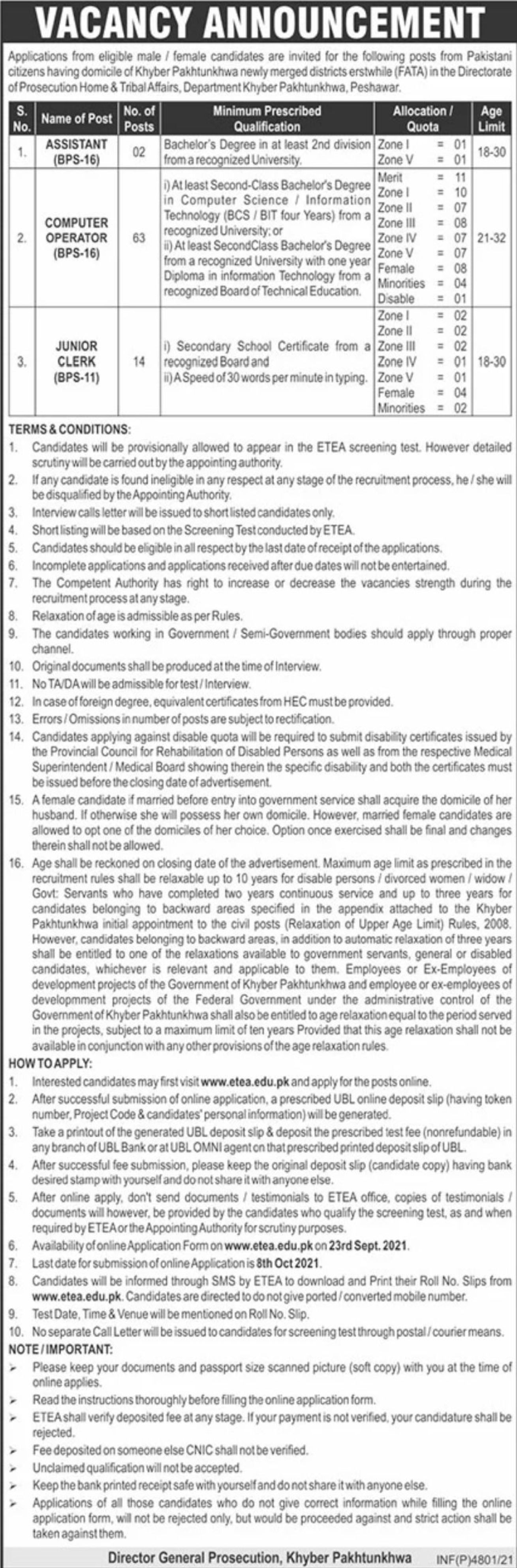 Prosecution Home & Tribal Affairs KPK Vacancies 2021 – Dailyjobs.pk 3